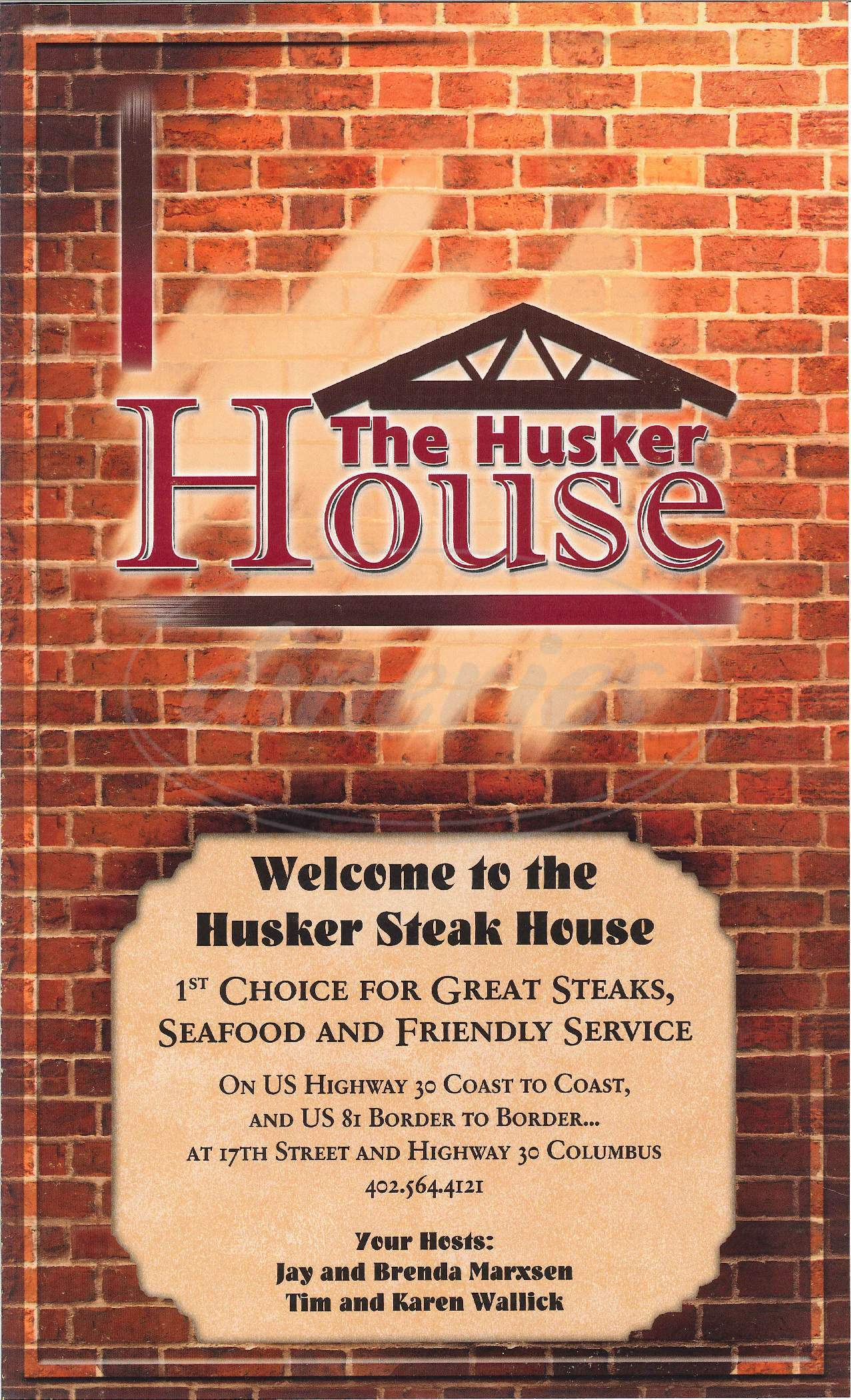 menu for Husker Steak House