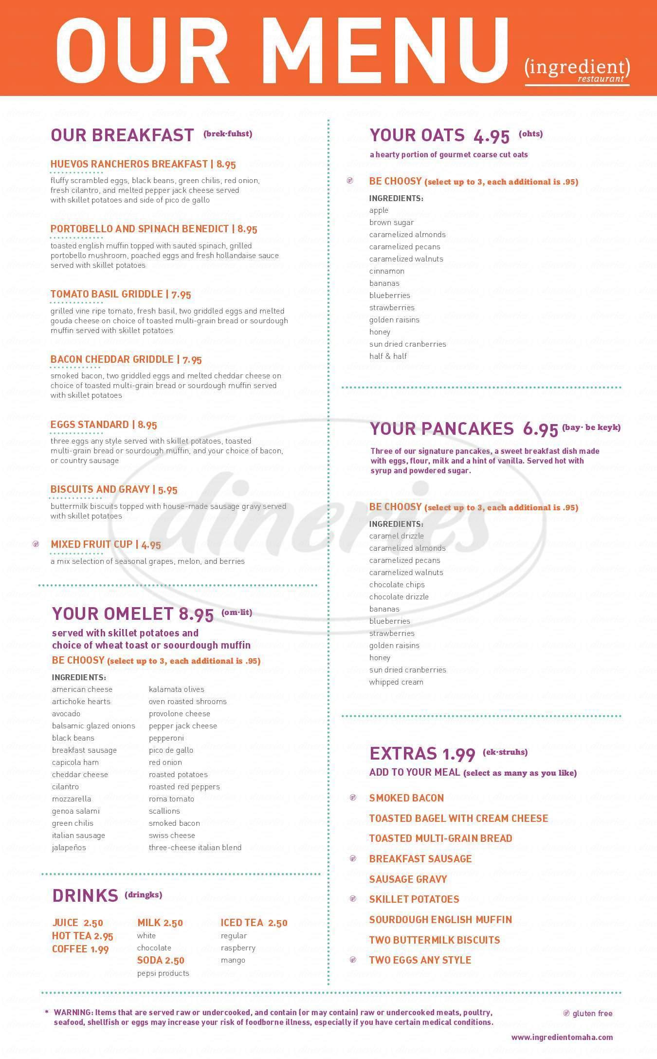 menu for Ingredient