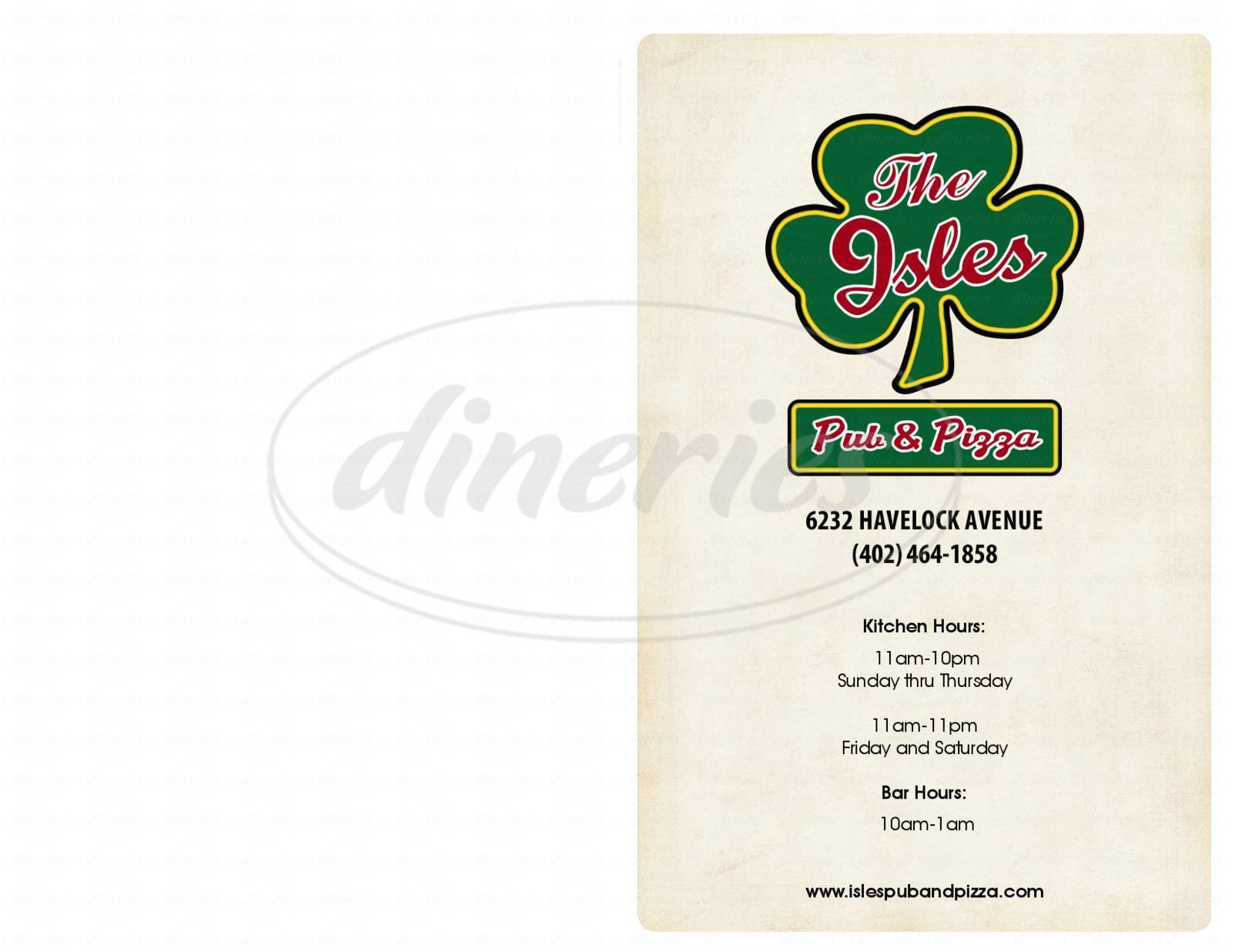 menu for The Isles Pub and Pizza