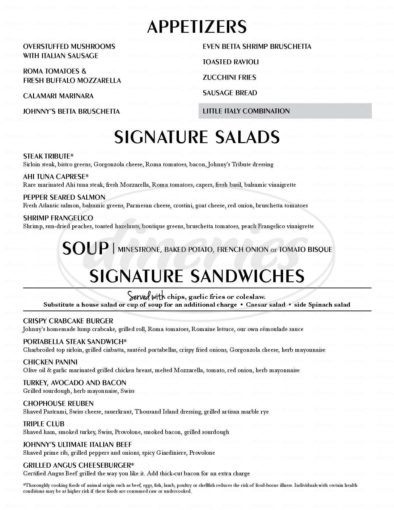 menu for Johnny's Italian Steakhouse