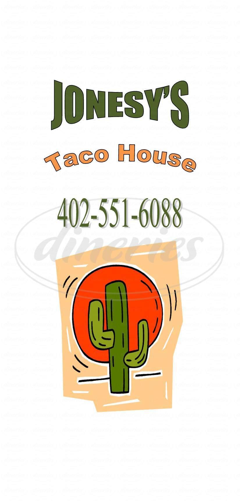 menu for Jonesy's Taco House