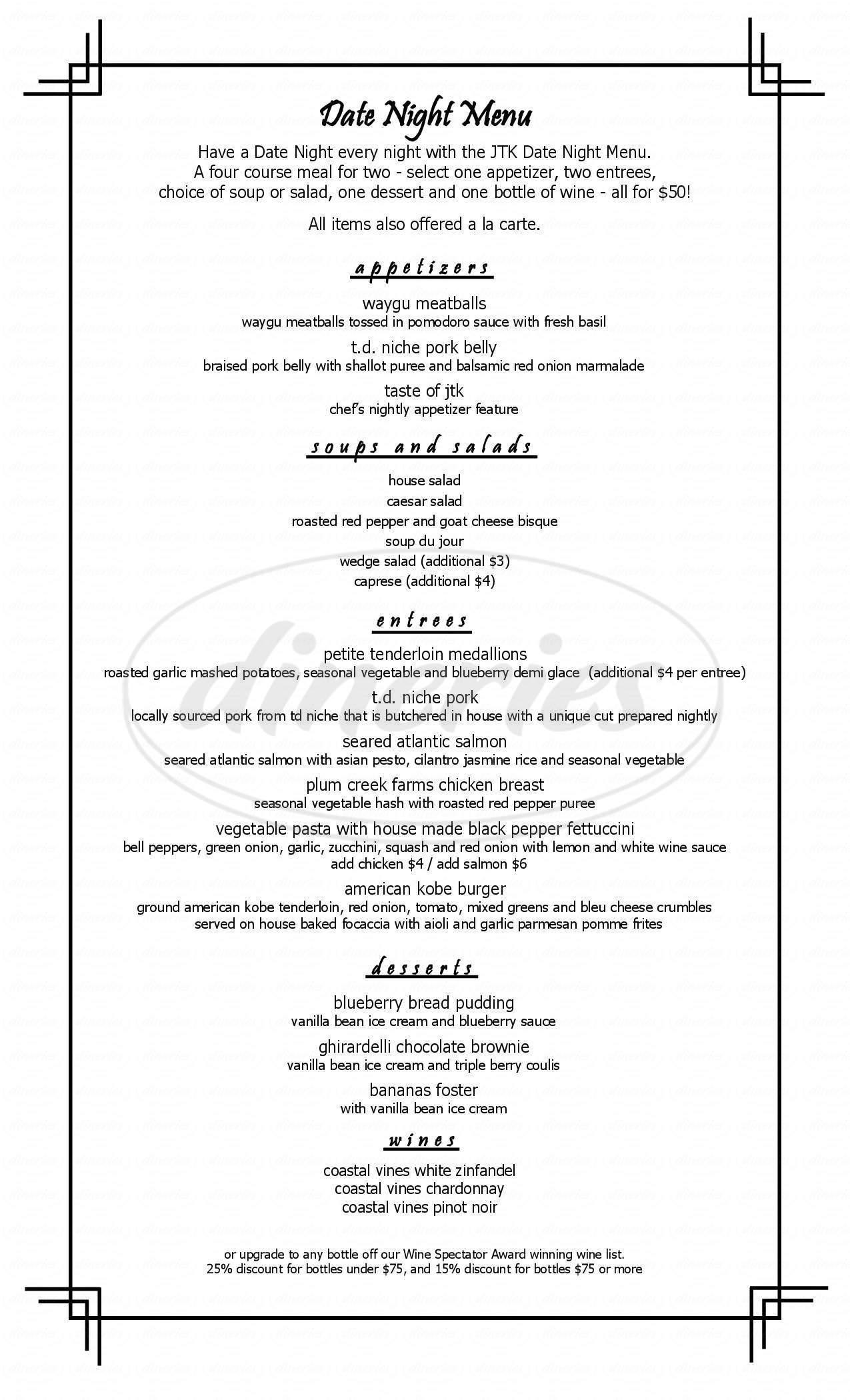 menu for JTK Cuisine & Cocktails