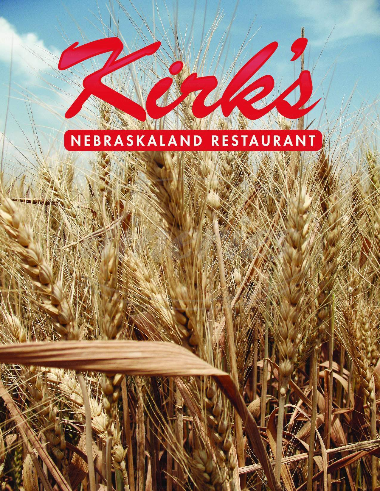 menu for Kirk's Nebraskaland Restaurant