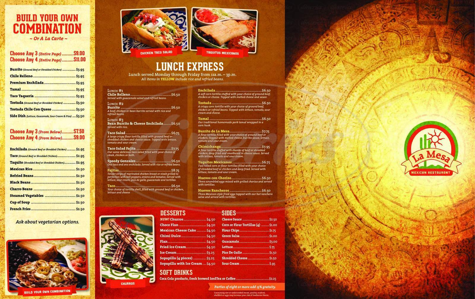 menu for La Mesa Mexican Restaurant