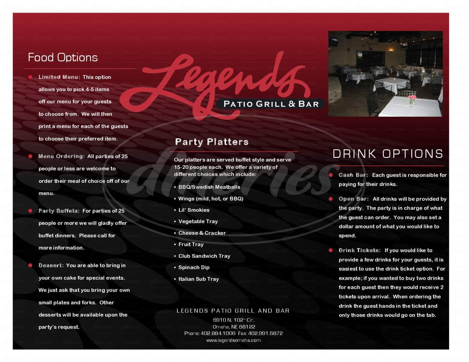 menu for Legends Patio Grill & Bar