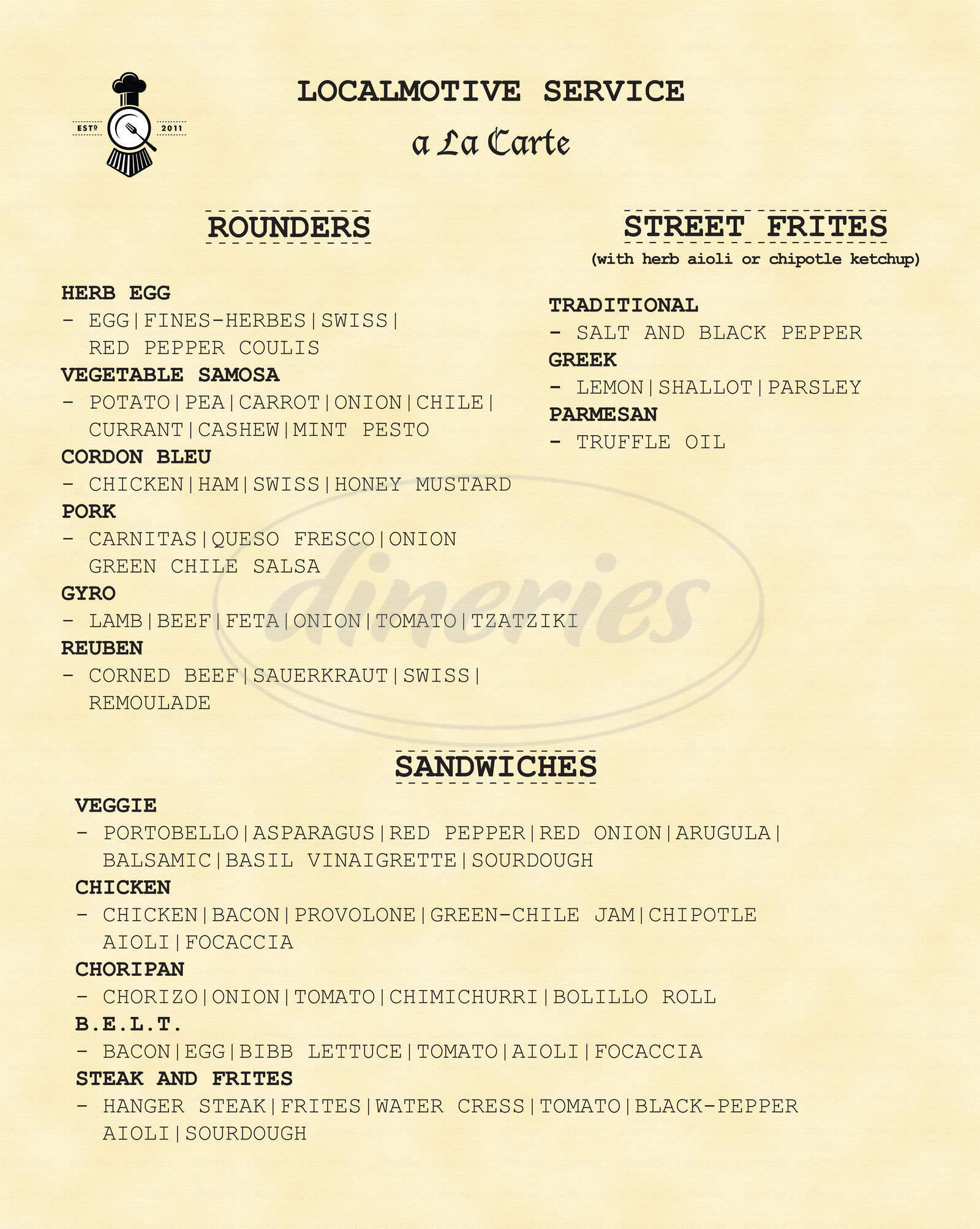menu for Localmotive Food Truck