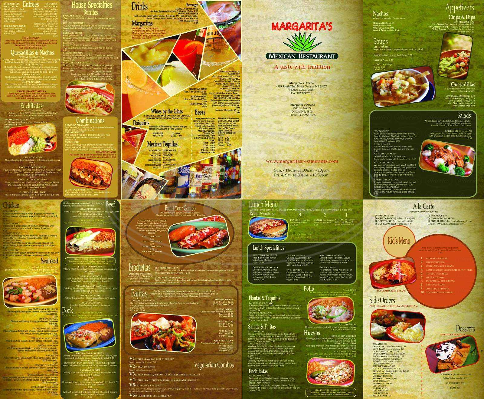 menu for Margarita's Mexican Restaurant