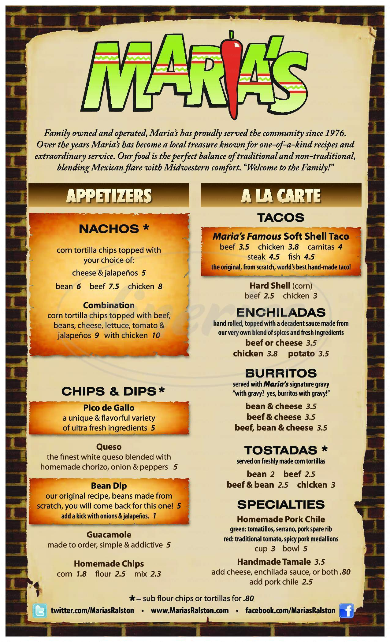 menu for Maria's Mexican Restaurant