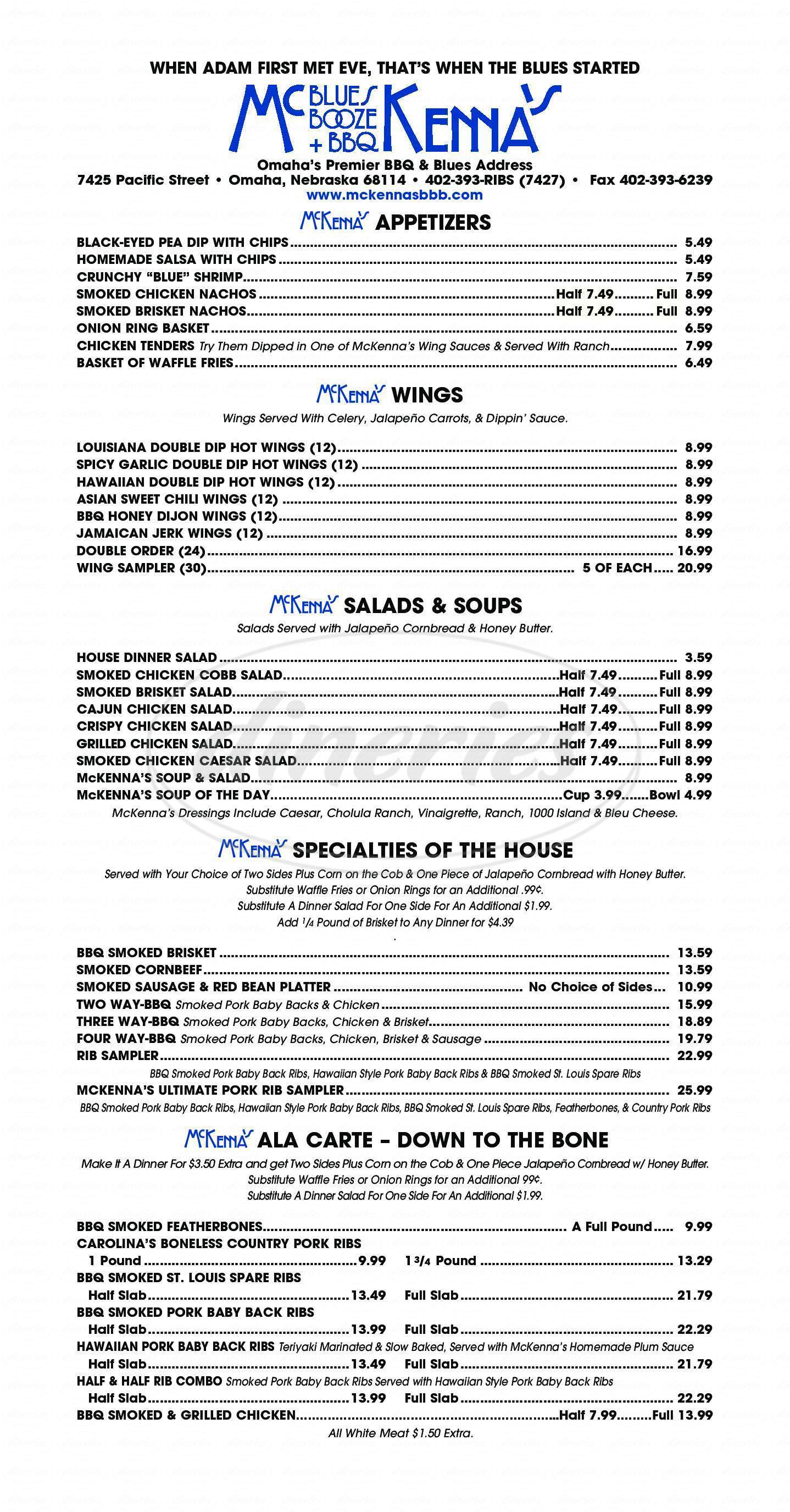 menu for McKenna's Blues Booze & BBQ