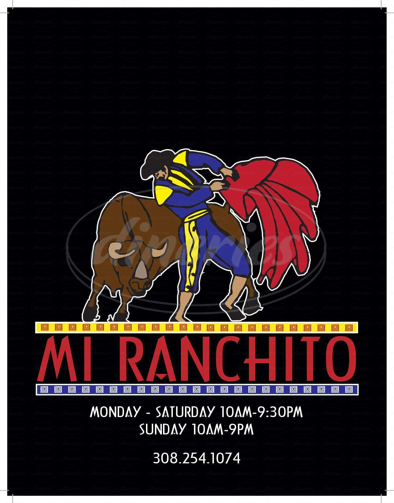 menu for Mi Ranchito