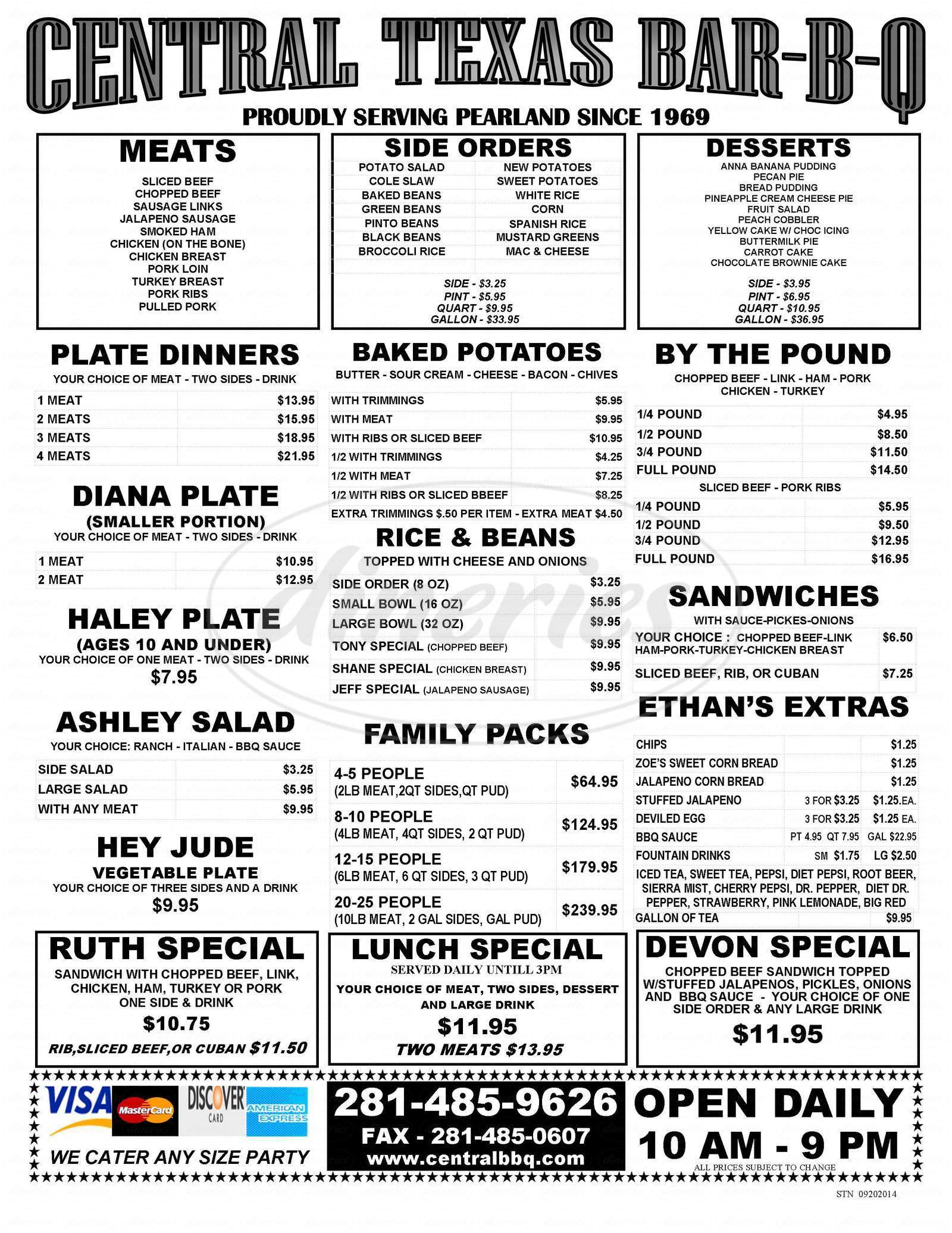 menu for Central Texas Style BBQ