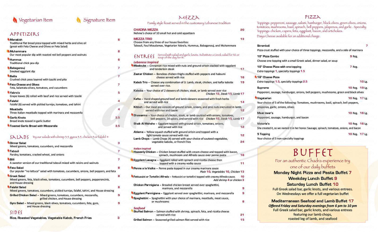 menu for Chadra Mezza & Grill