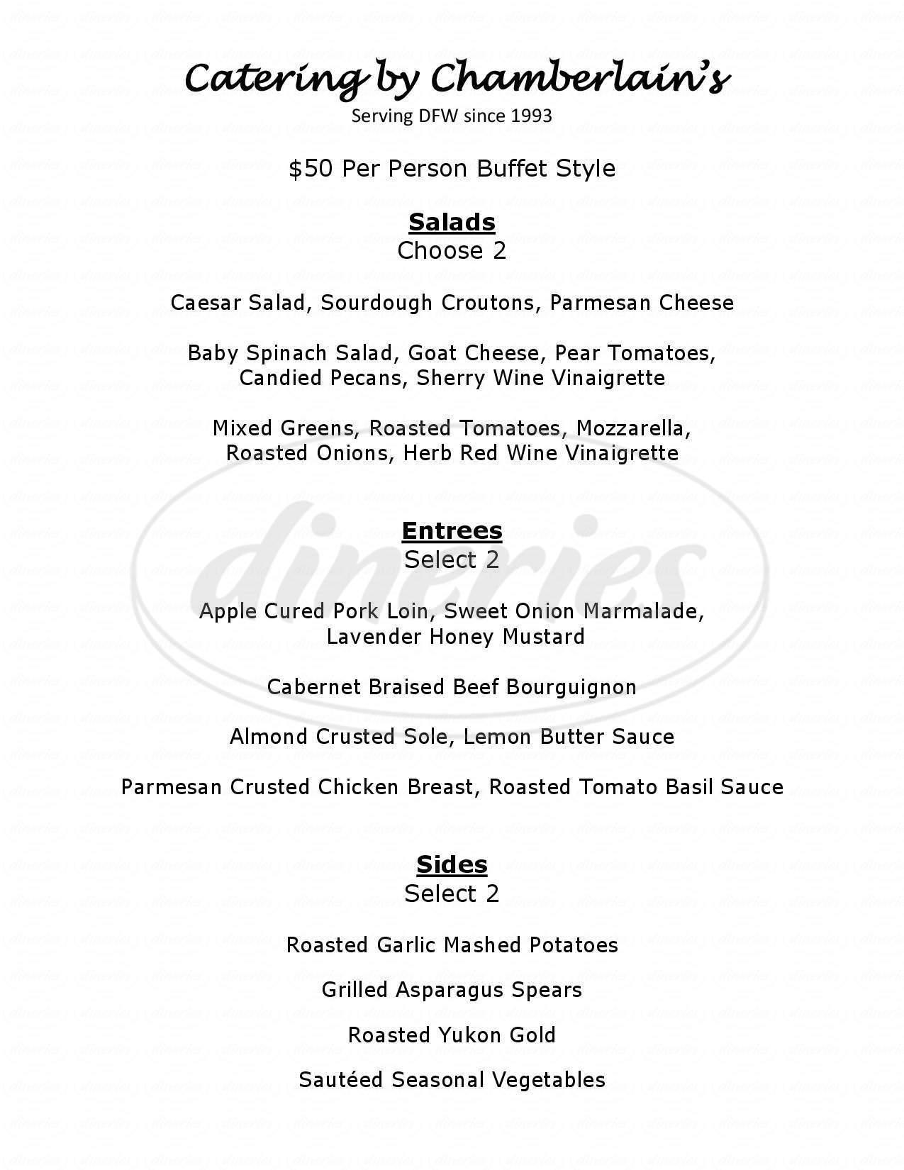 menu for Chamberlain's Steakhouse