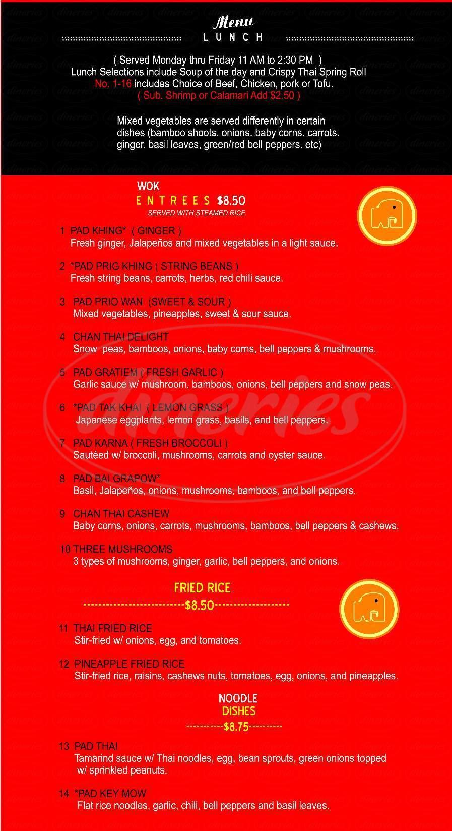 menu for Chan Thai