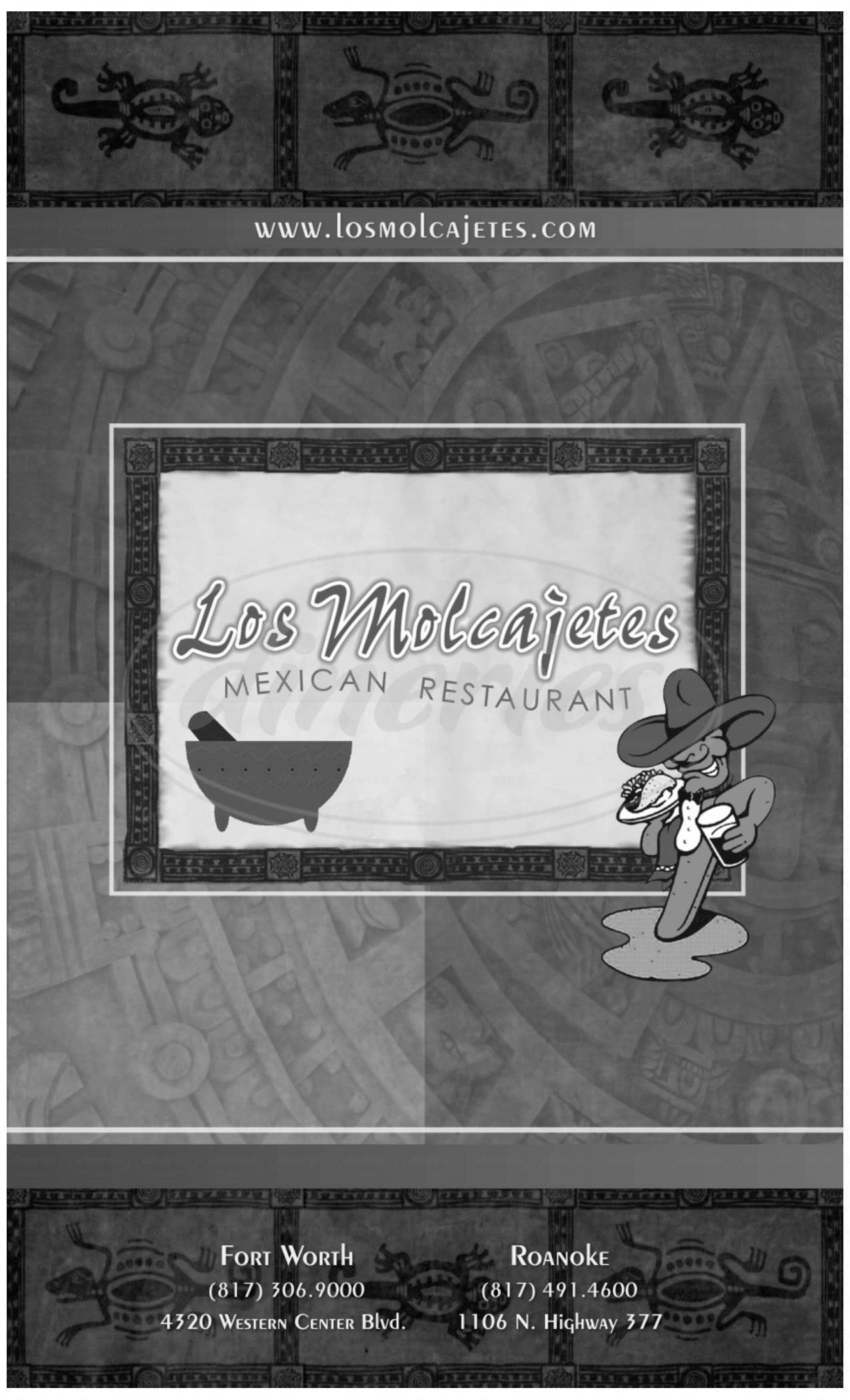 menu for Los Molcajetes Mexican Restaurant