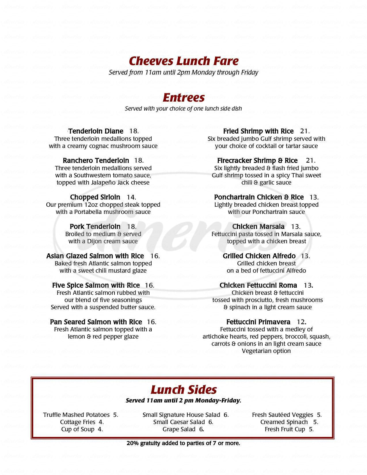 menu for Cheeves Bros. Steak House