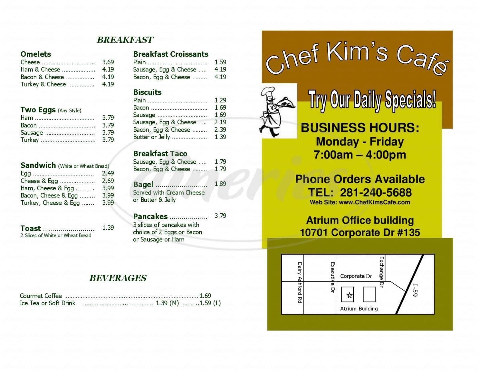 menu for Chef Kim's Cafe