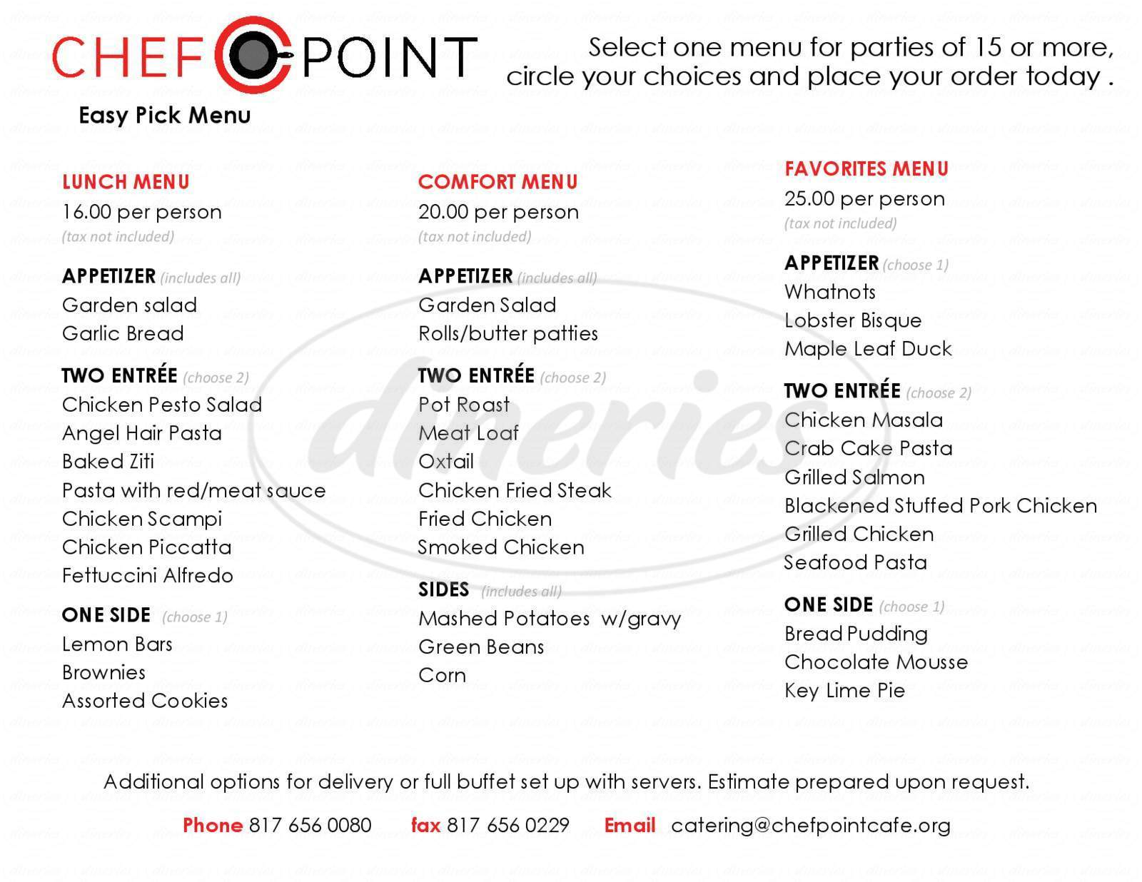 menu for Chef Point Cafe