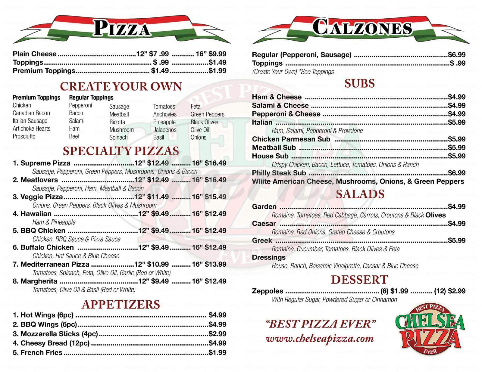 menu for Chelsea Pizza