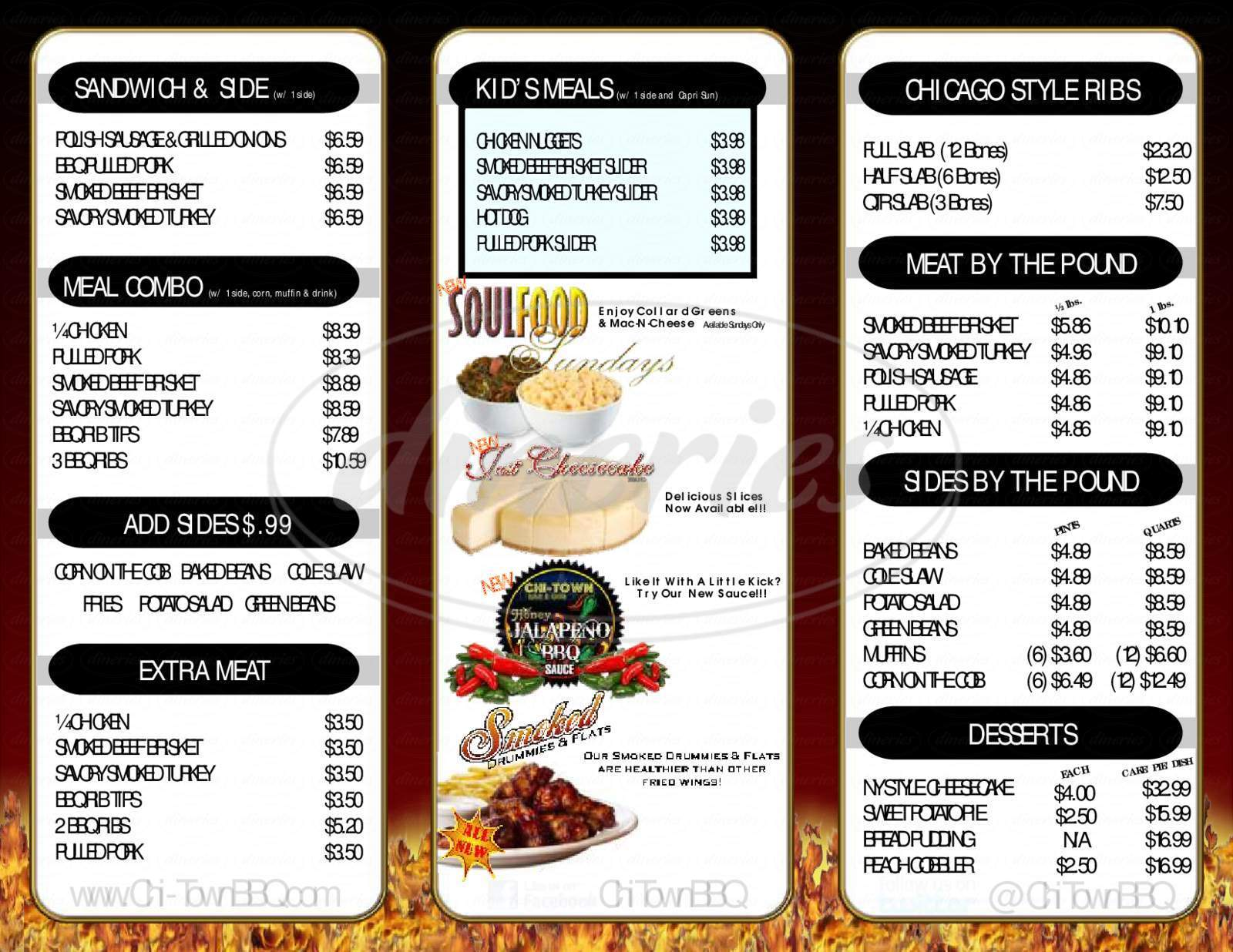 menu for Chi Town BBQ