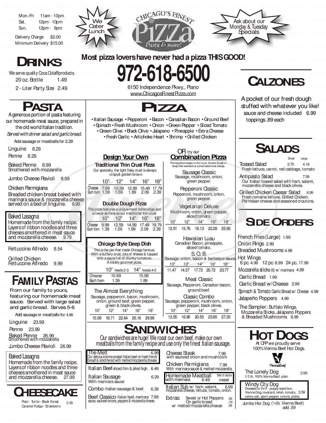 menu for Chicago's Finest Pizza