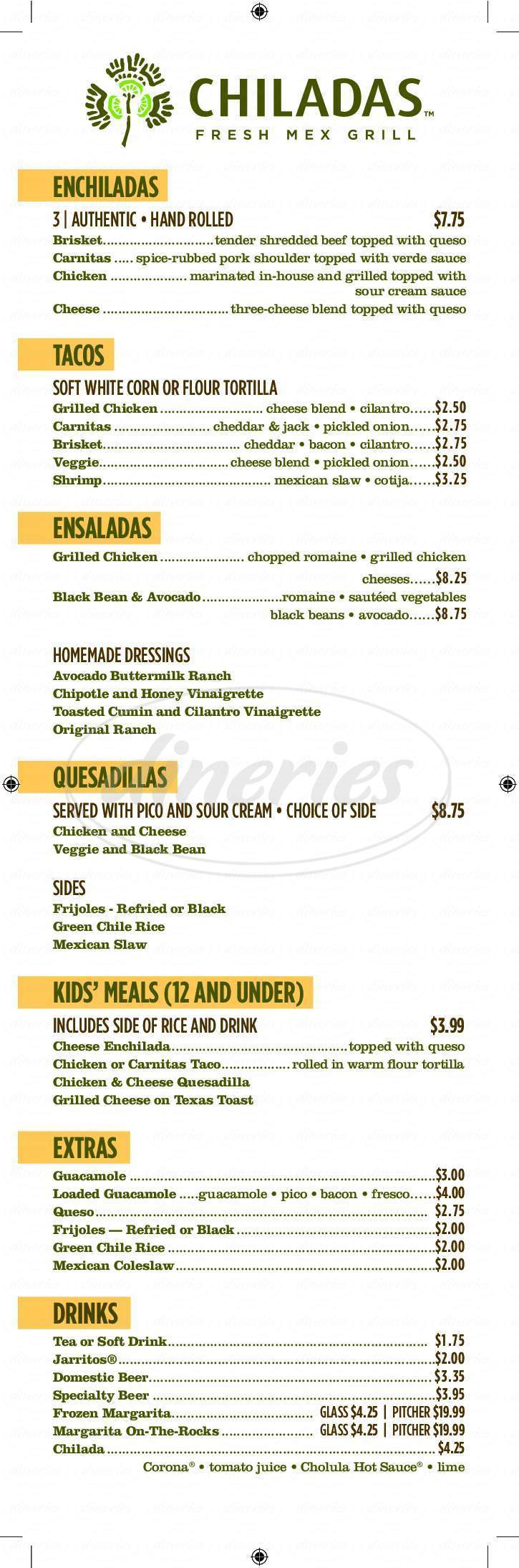menu for Chiladas Fresh Mex Grill