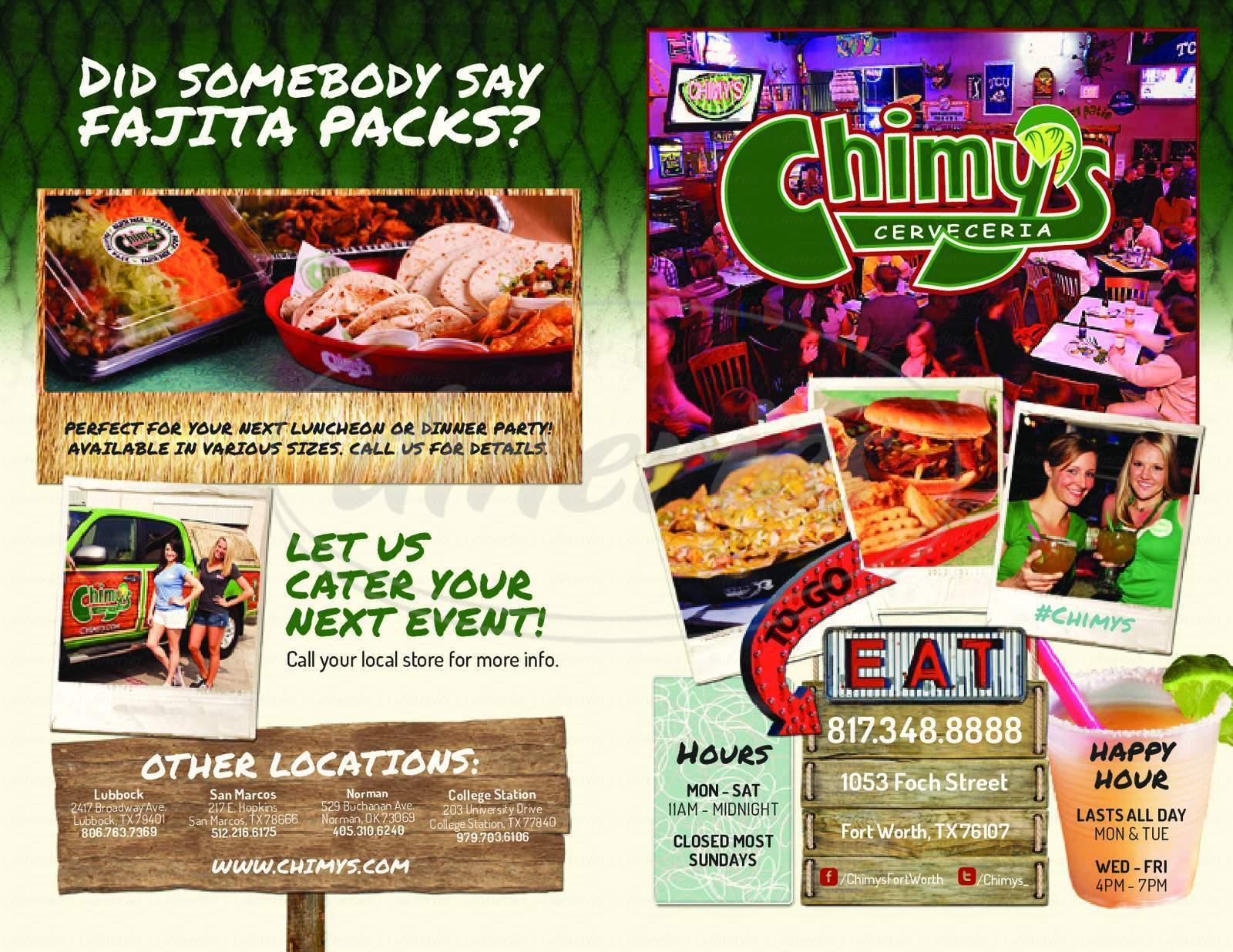 menu for Chimy's Cerveceria