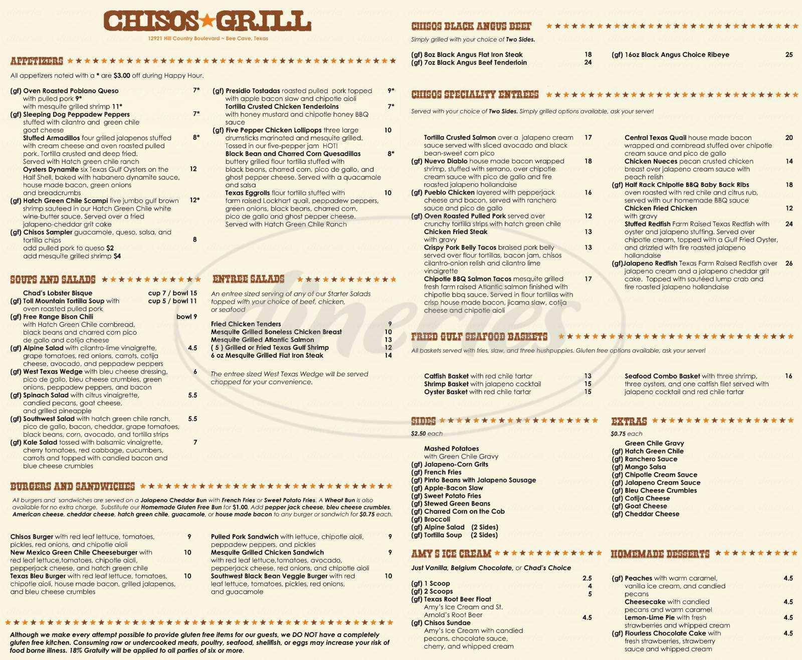 menu for Chisos Grill
