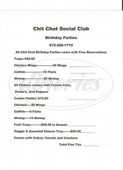 menu for Chit Chat Restaurant