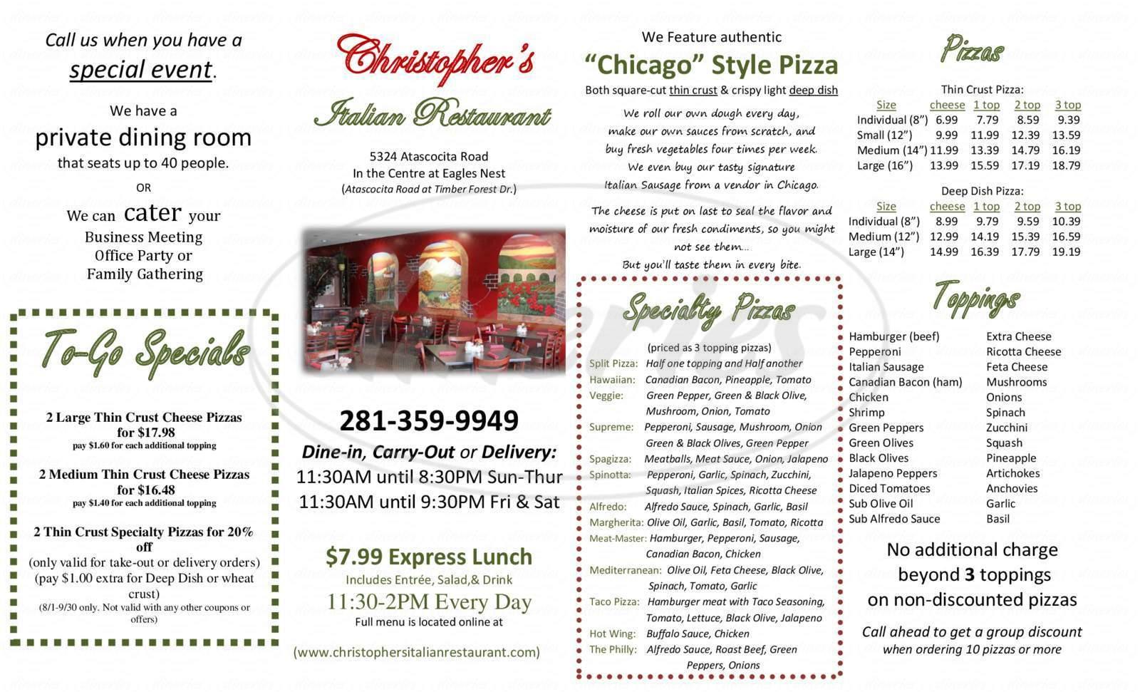 menu for Christopher's Italian Restaurant