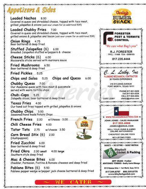 menu for Chubby's Burger Shack