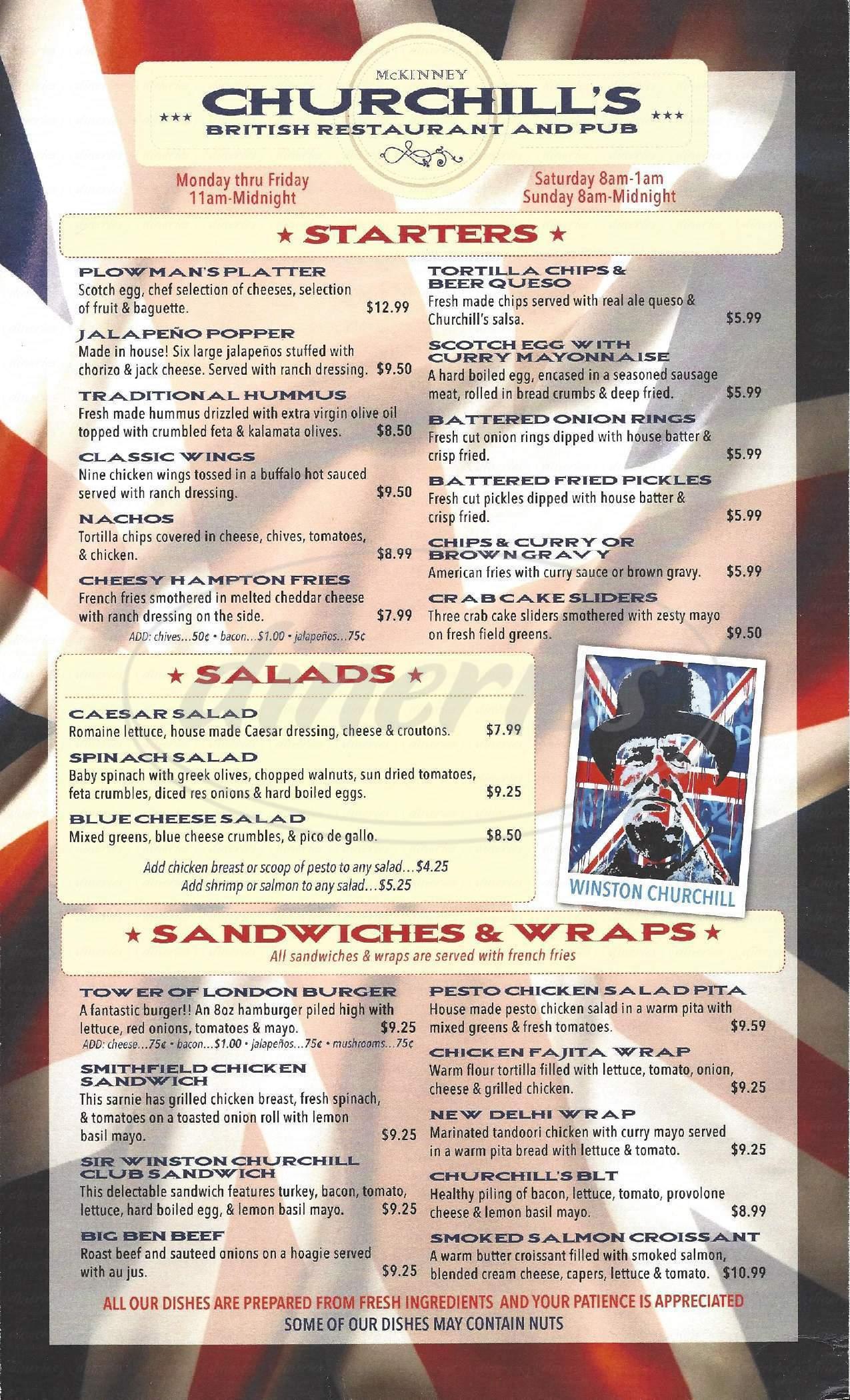 menu for Churchill's British Restaurant and Pub