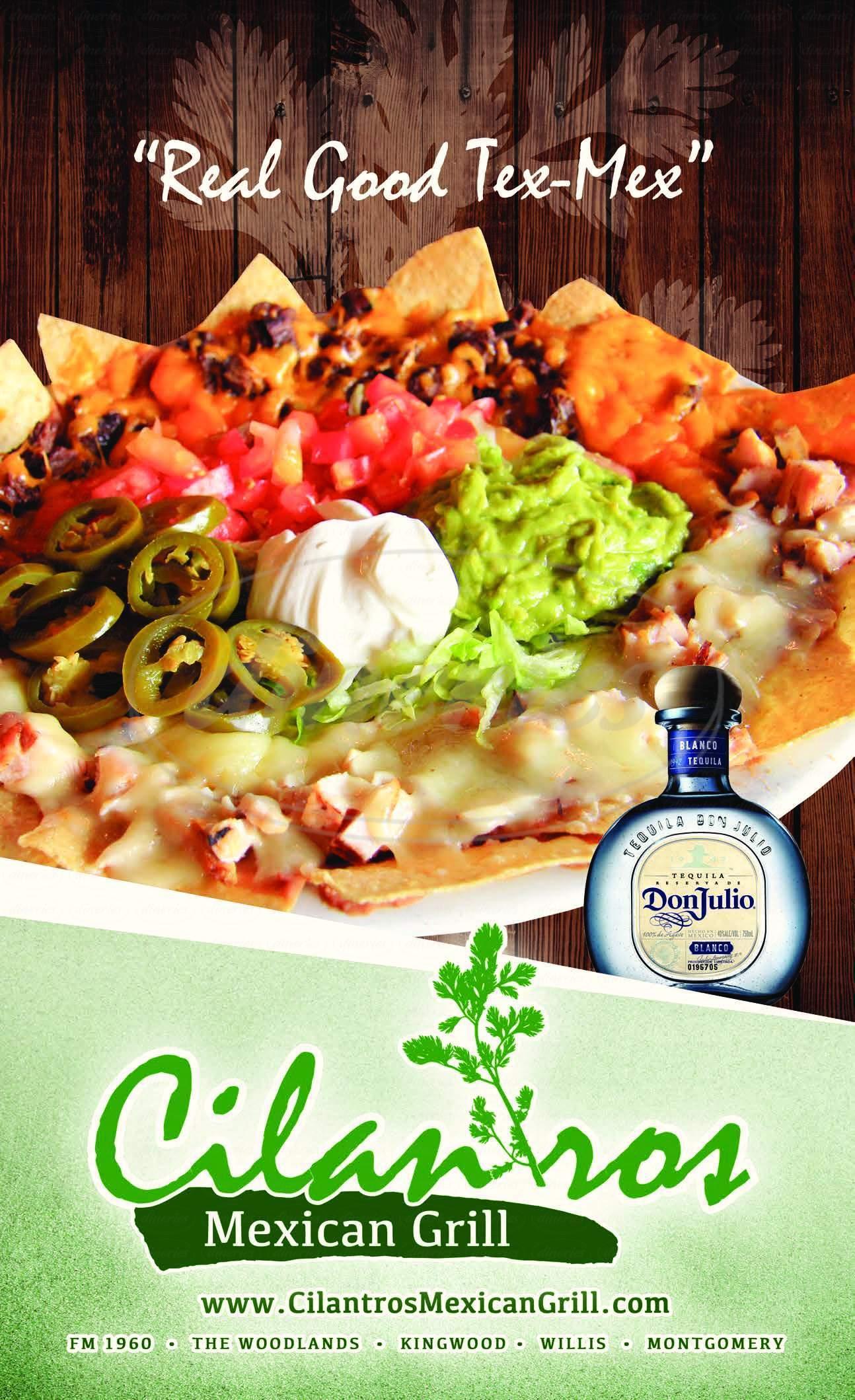 menu for Cilantro's Mexican Grill