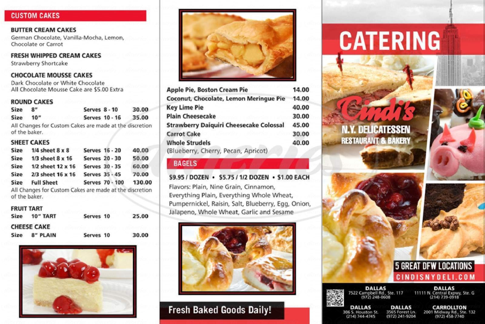 menu for Cindi's N.Y. Delicatessen, Restaurant & Bakery