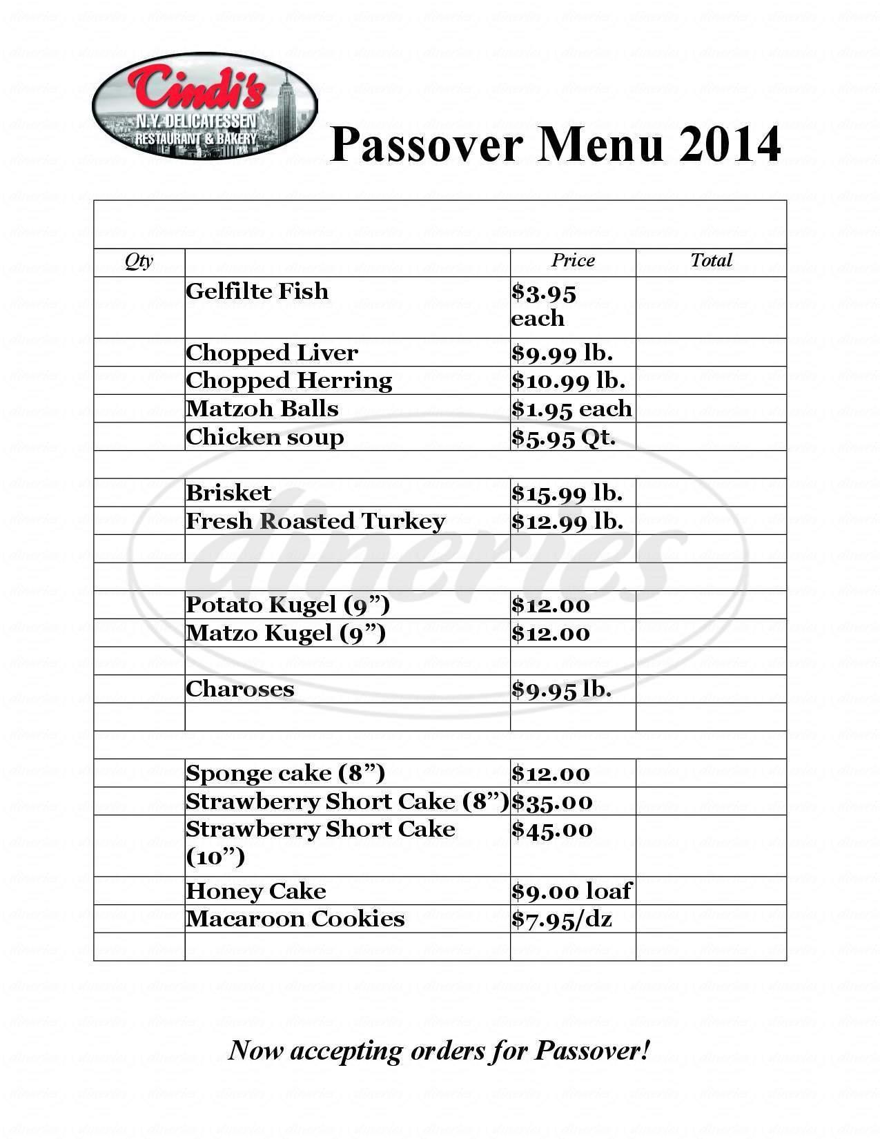 menu for Cindi's NY Delicatessen Restaurant & Bakery