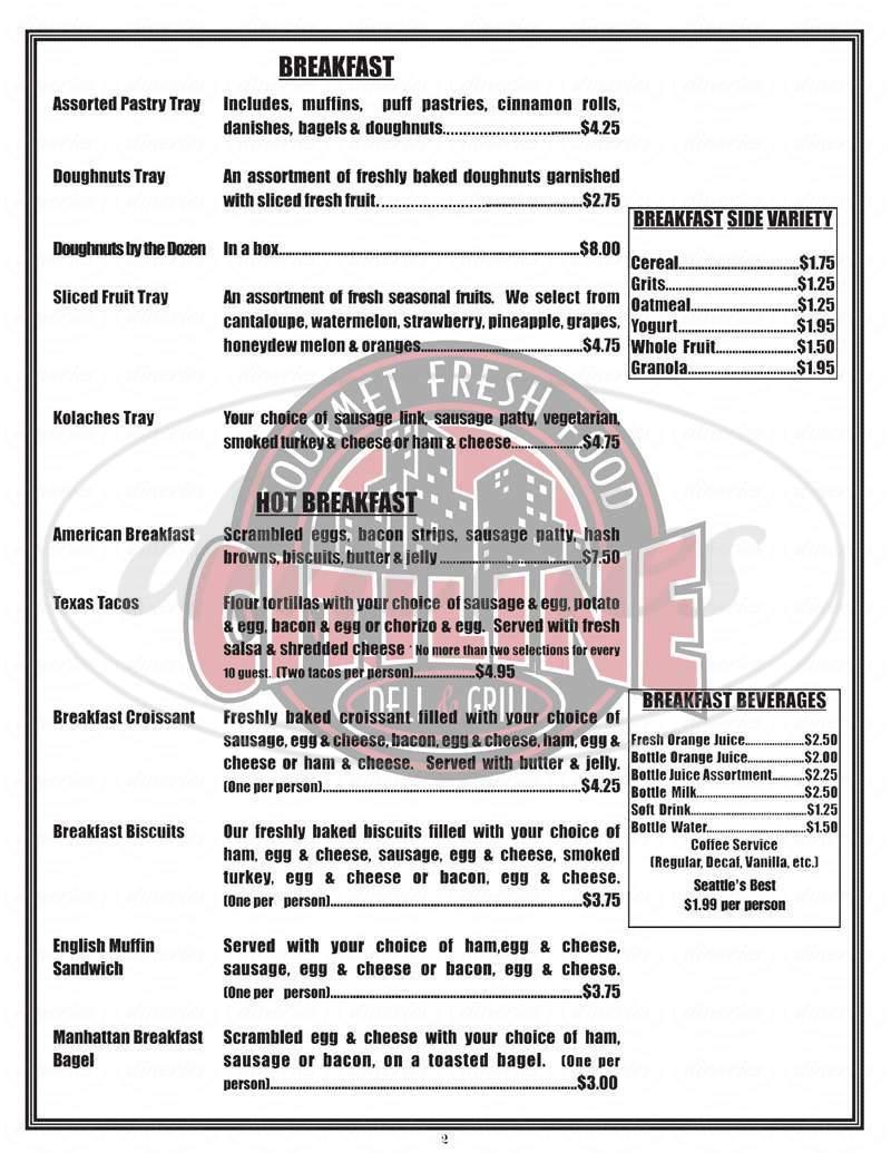 menu for Citiline Deli
