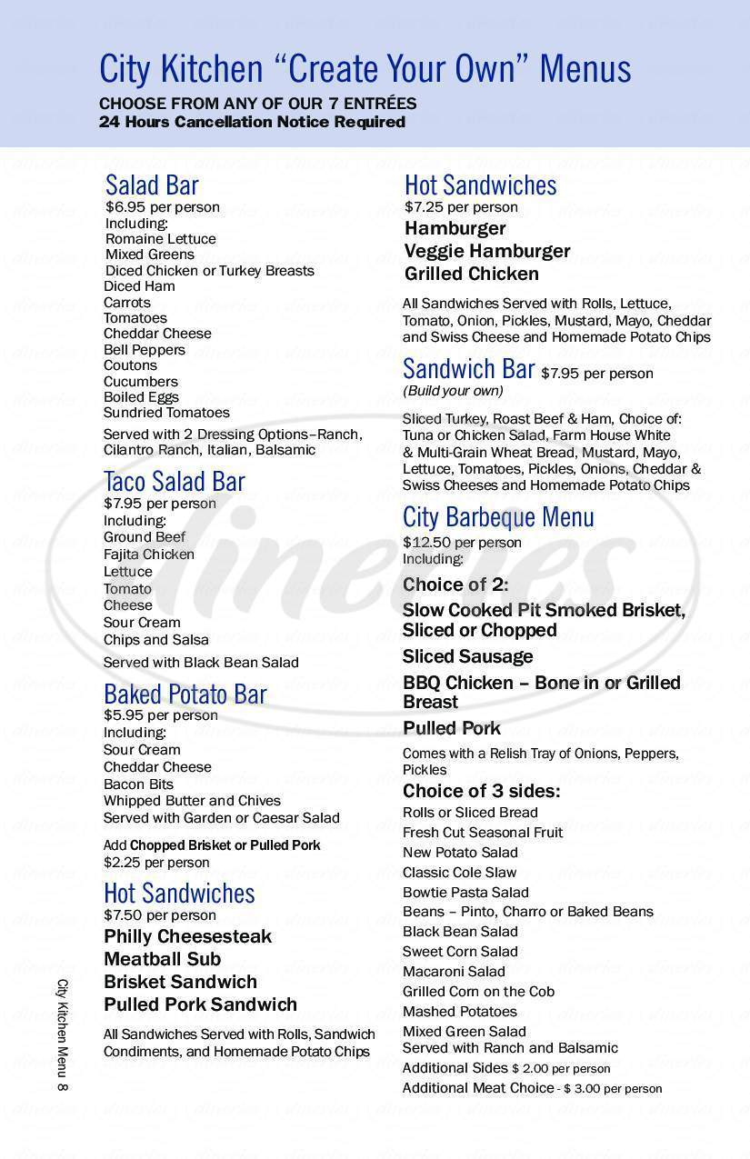 menu for City Kitchen Café