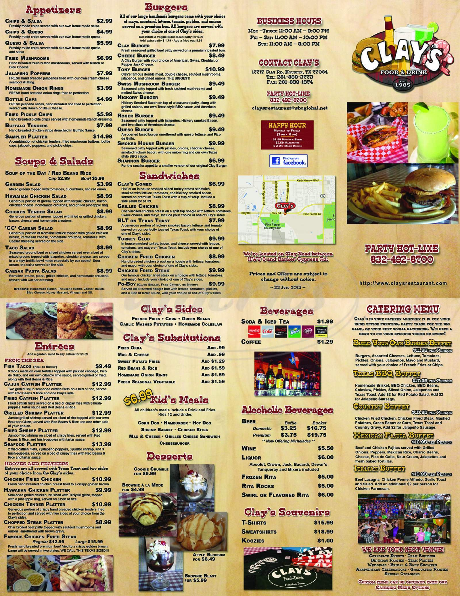 menu for Clay's Restaurant & Hall