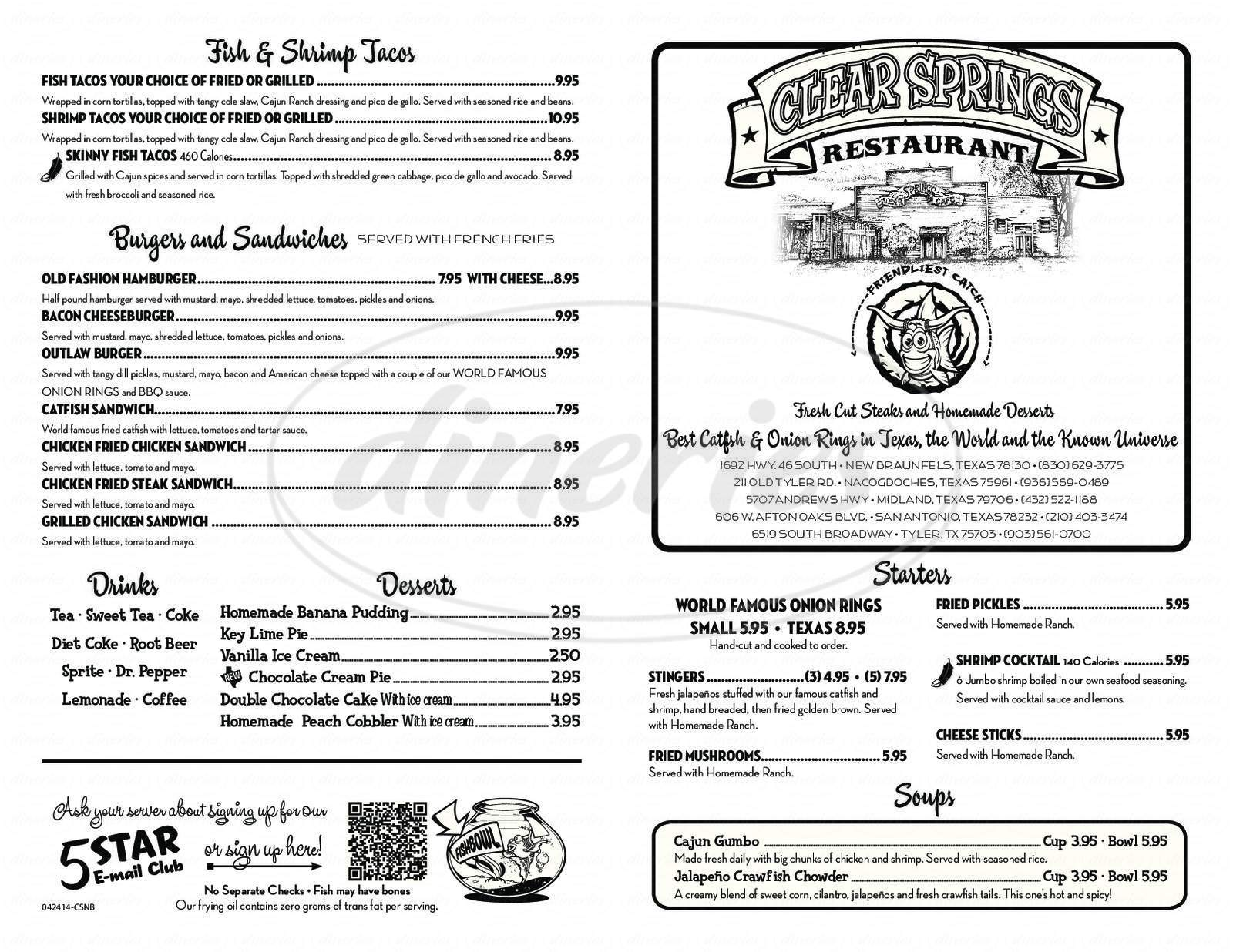 menu for Clear Springs Restaurant