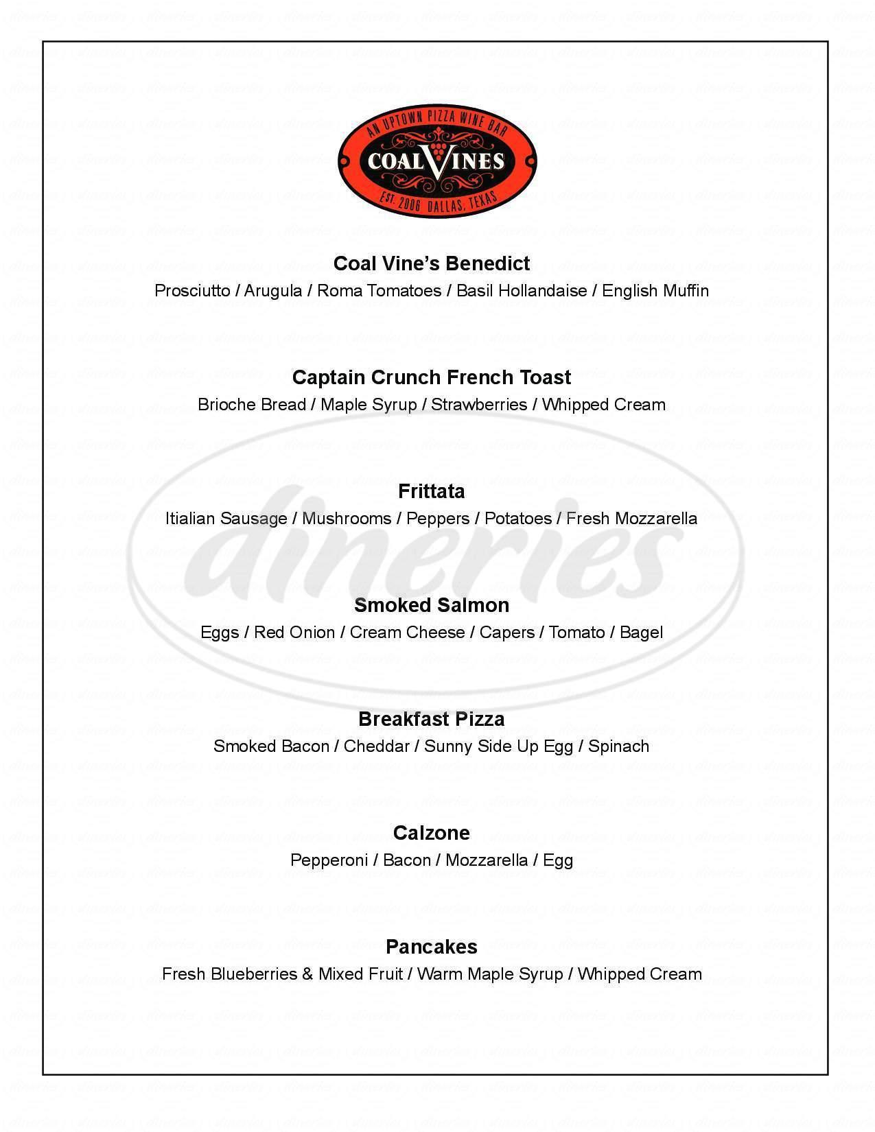 menu for Coal Vines