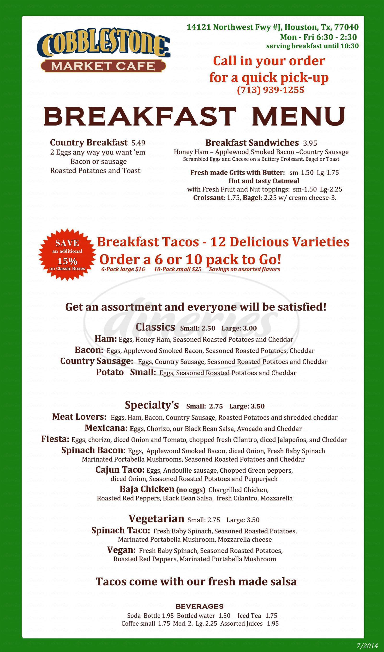 menu for Cobblestone Market Cafe