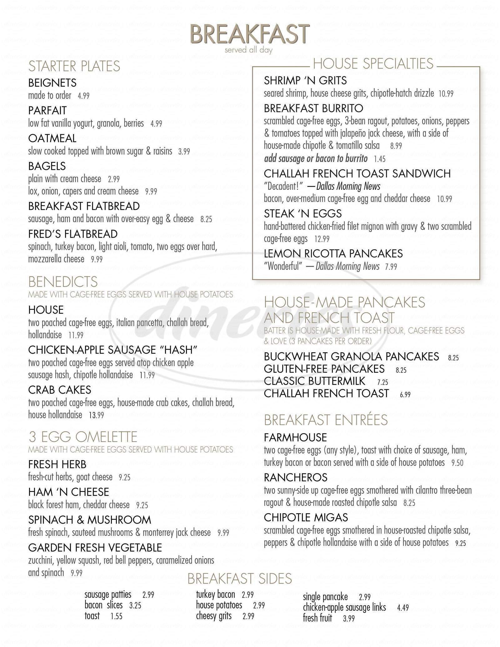 menu for Coffee House Café