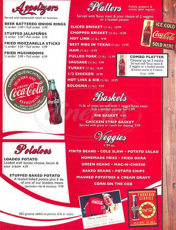 menu for Cokers Pit Bar B Que