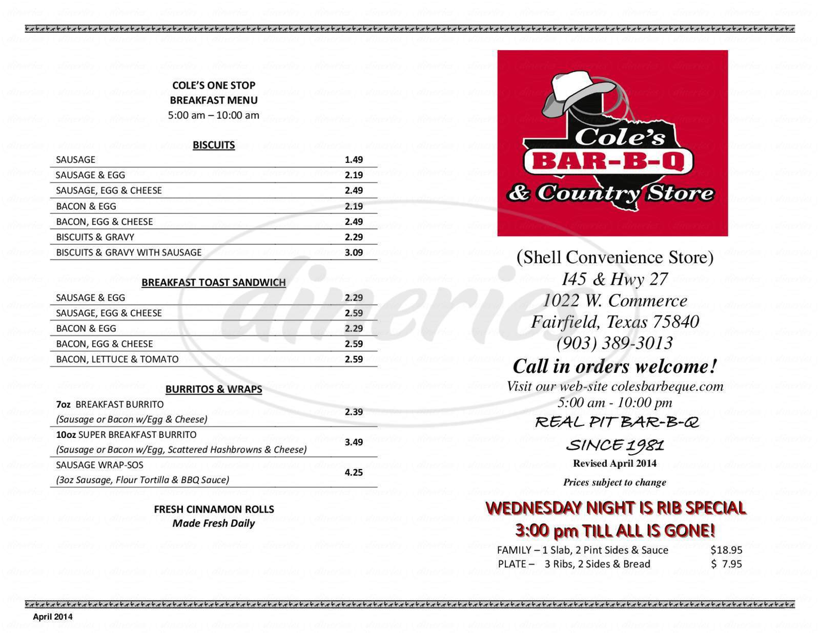 menu for Cole's Bar-B-Q & Country Store