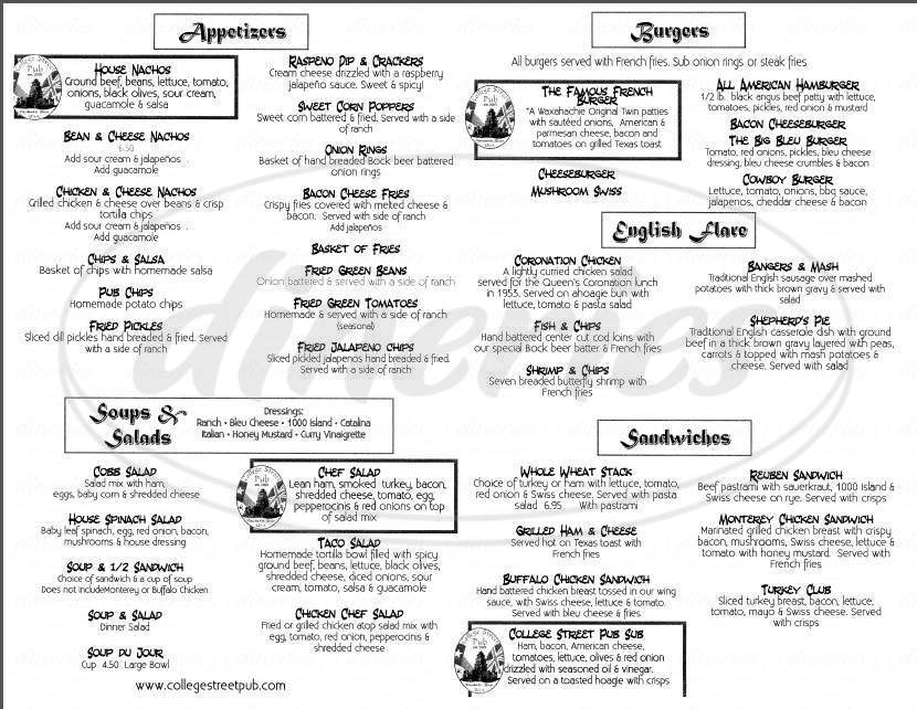 menu for College Street Pub