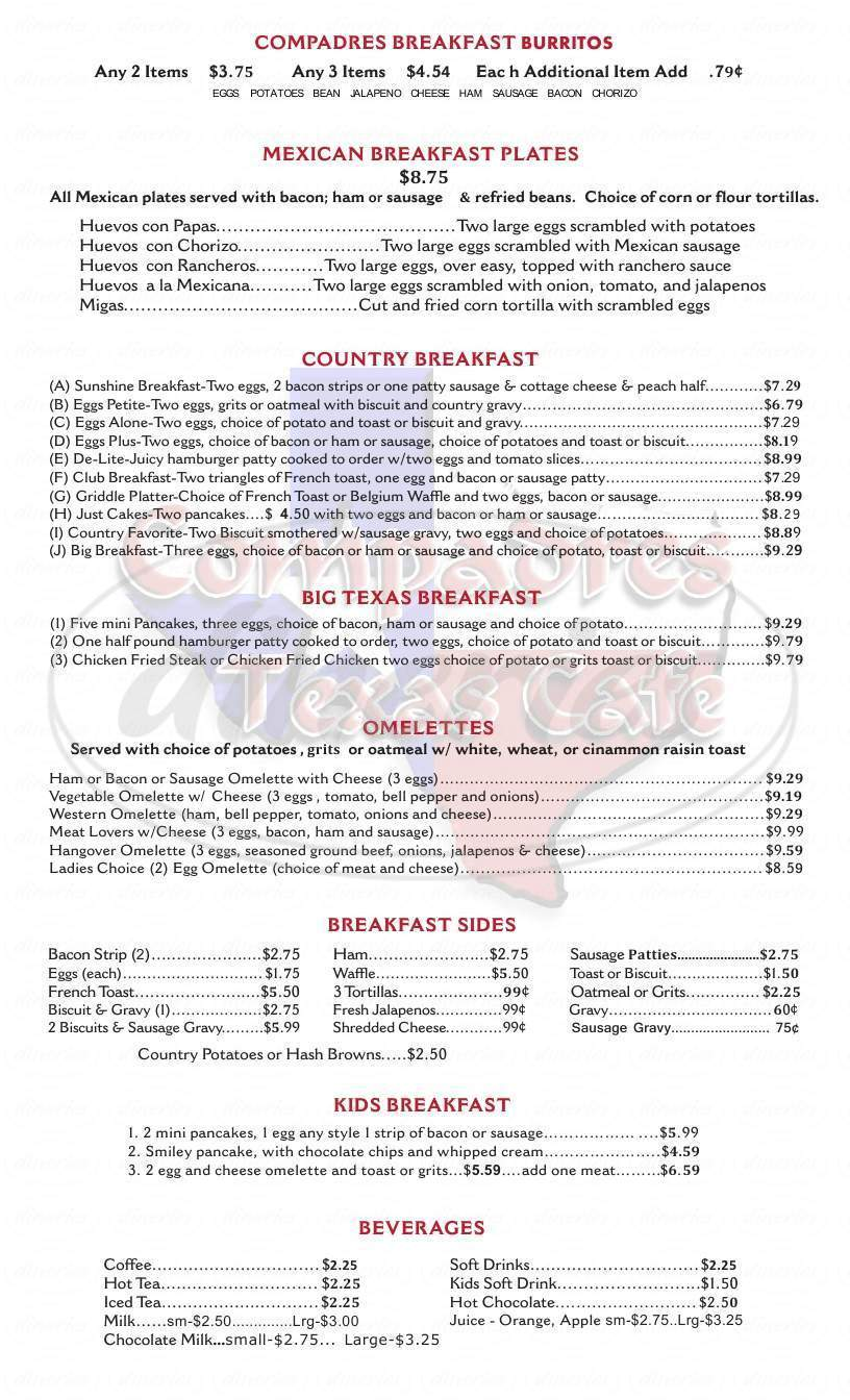 menu for Compadres Texas Cafe