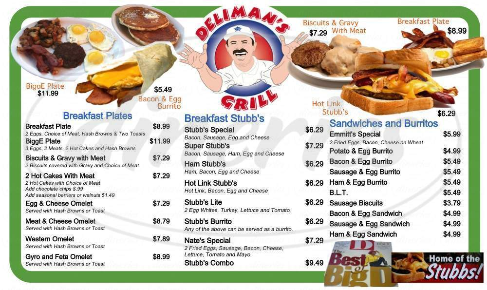 menu for Deliman's Grill