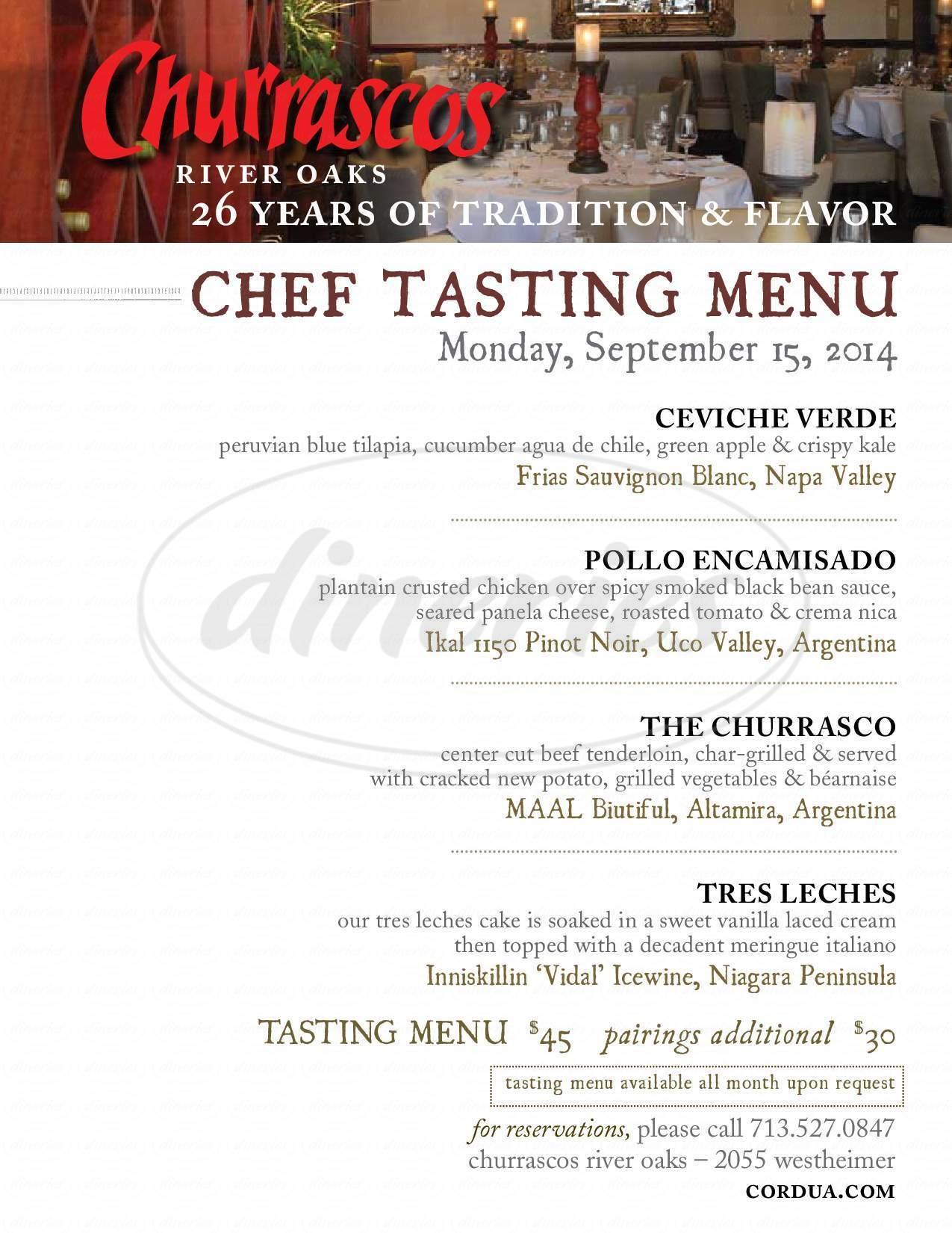 menu for Churrascos - River Oaks