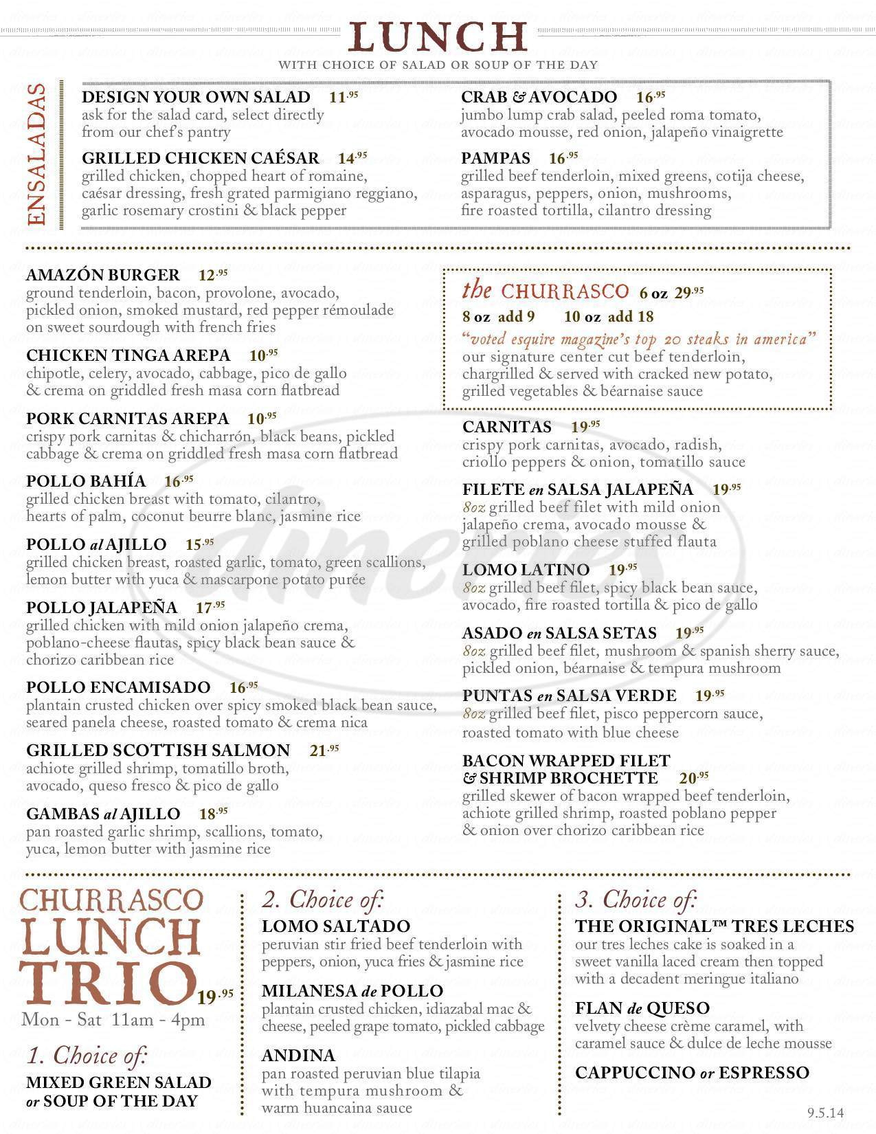menu for Churrascos - Westchase