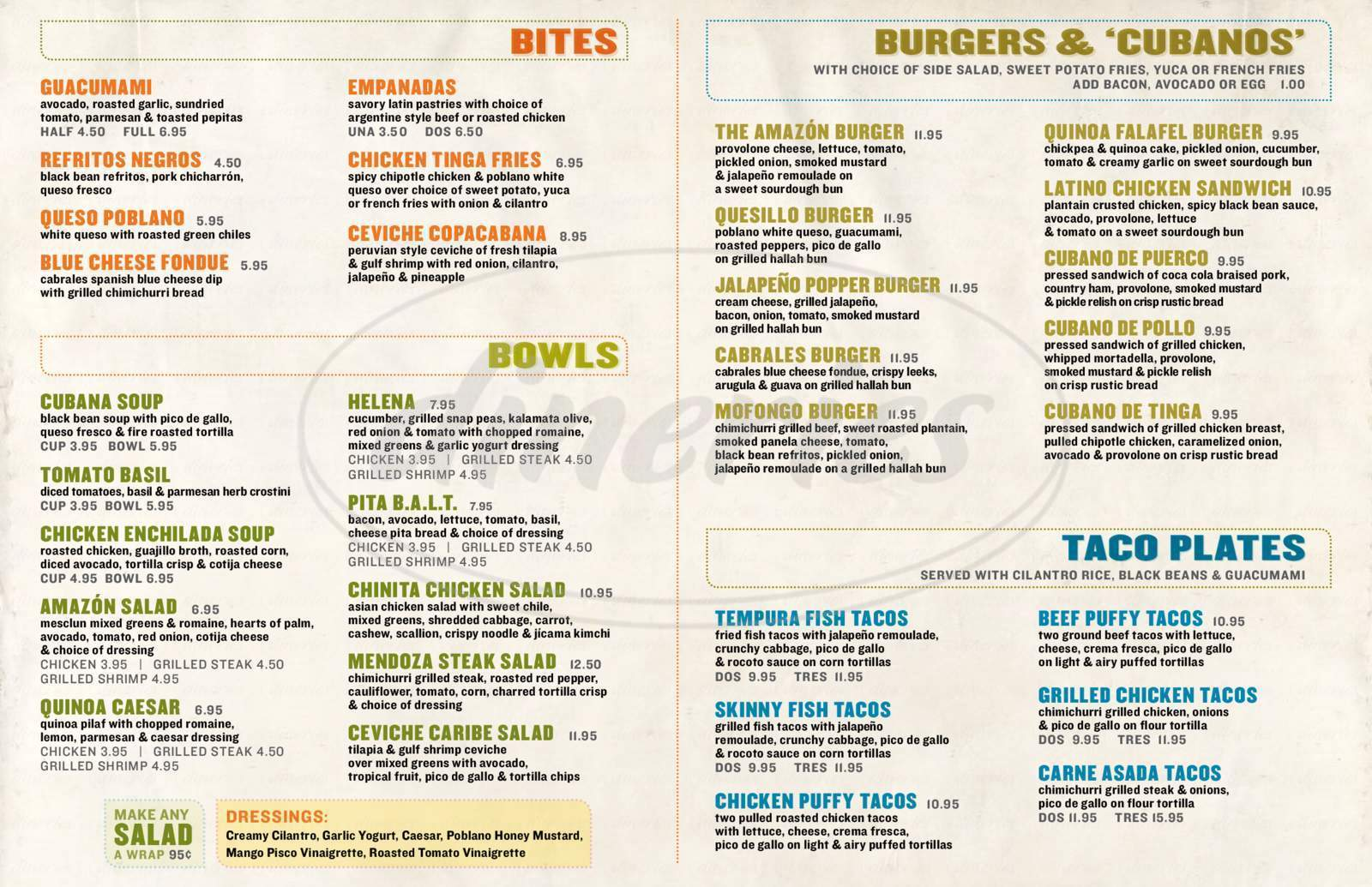 menu for Amazon Grill